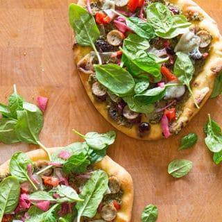 Naan Pizza with Broccoli Pesto & Manchego
