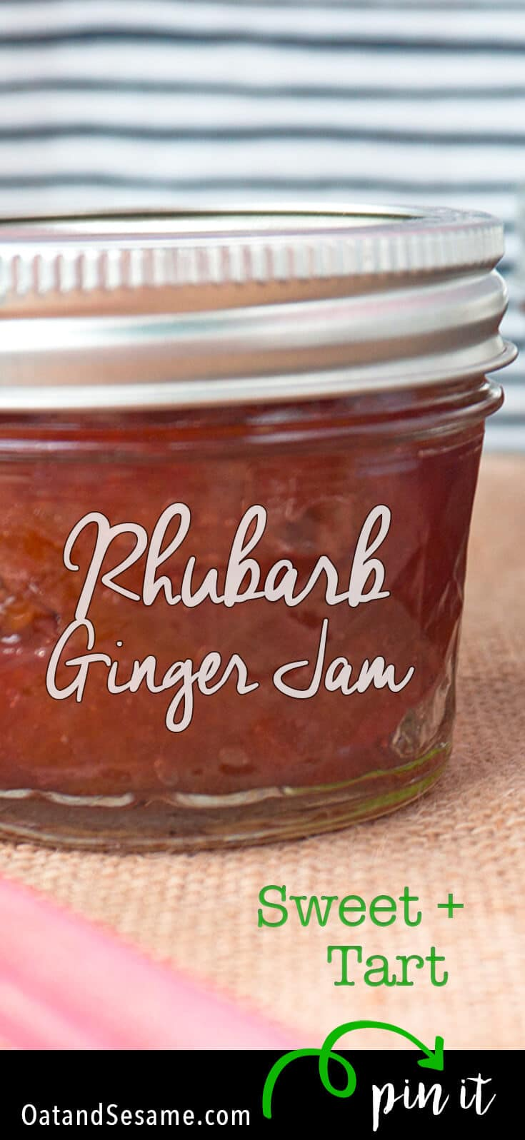 Rhubarb Season means getting creative with Rhubarb Recipes. This Rhubarb Ginger Jam is a great way to use a lot of rhubarb and preserve it for the year! | JAM | RHUBARB | TUTORIAL | Recipe at OatandSesame.com