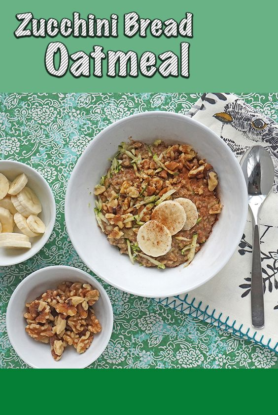 Breakfast | Oatmeal | Healthy Zucchini Bread Oatmeal | #recipe at OatandSesame.com
