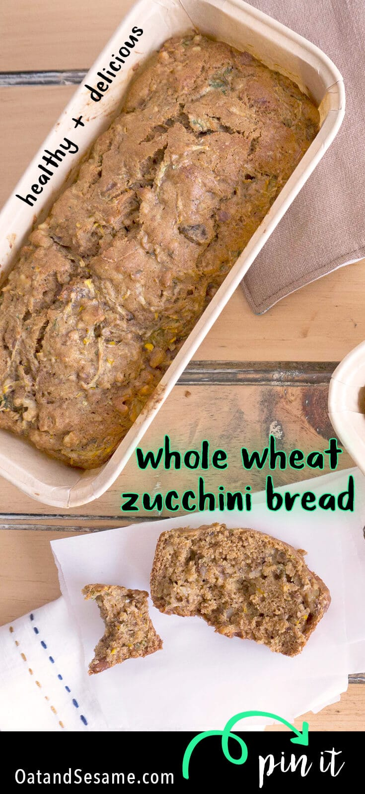 When Zucchini Season is at its high, you'll need to start making zucchini bread! This Whole Wheat Zucchini Walnut Bread is delicious and healthy. It also works great as the base for Zucchini Bread French toast! | BREAD | BAKING | WHOLE GRAIN | Recipe at OatandSesame.com