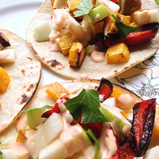Roasted Butternut Squash Tacos with Apple & Chipotle-Lime Drizzle