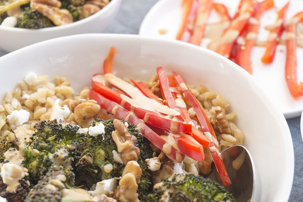 Roasted Broccoli Barley Bowls