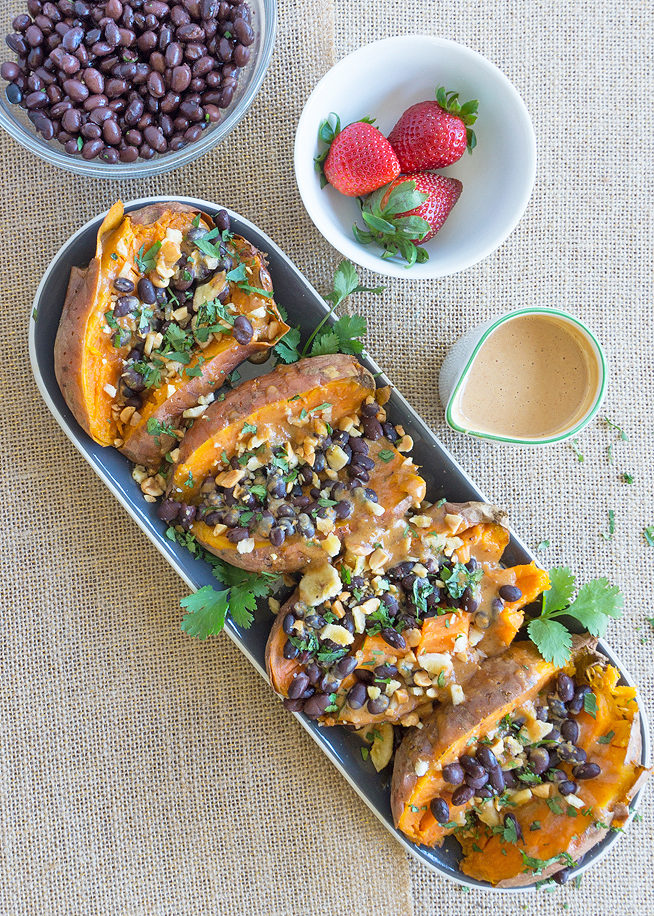 stuffed sweet potatoes peanut sauce