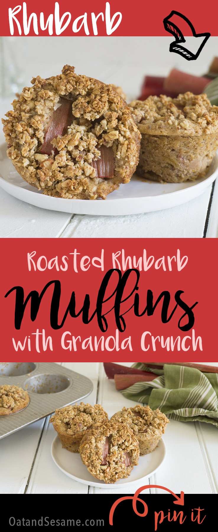 Roasted Rhubarb Muffins with a granola crunch topping! These muffins finally came out exactly how I wanted them after several renditions. Totally Gluten Free + Vegan | RHUBARB | MUFFINS | BREAKFAST | recipe at OatandSesame.comRecipe at OatandSesame.com