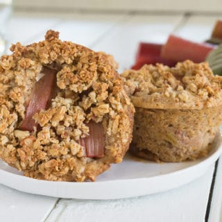 Roasted Rhubarb Muffins with Granola Crunch