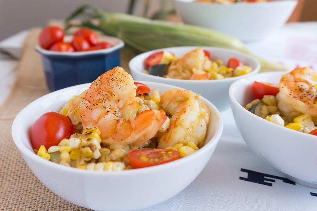Shrimp, Zucchini and Sweet Corn Risotto - Oat&Sesame