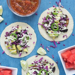 Veggie Tacos, Creamy Jalapeño Sauce + Fresh Tortillas