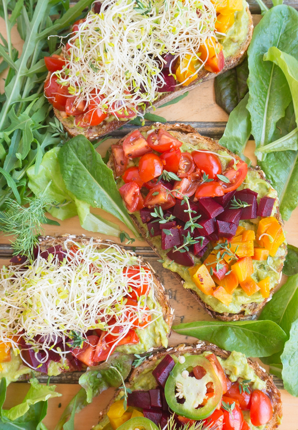 Beet & Avocado Open Faced Sandwiches: Inspiration for these Beet & Avocado Open Faced Sandwiches came from my travel in the Netherlands. Beets, Avocado, Tomatoes, Sprouts, Herbs & Seeds | VEGETARIAN | LUNCH | HEALTHY | recipe at OatandSesame.com