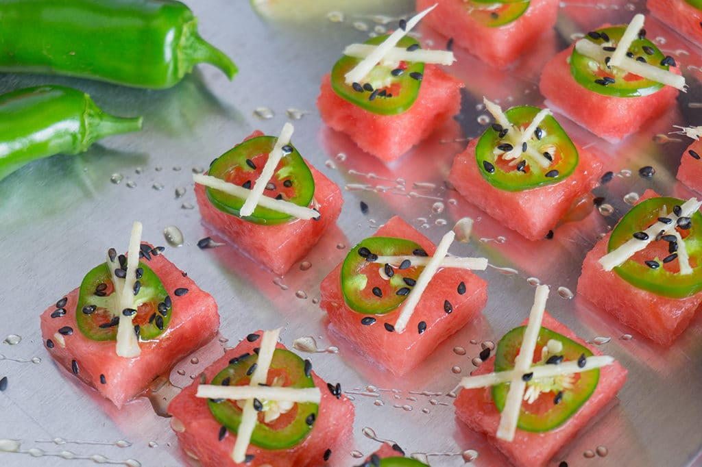 Watermelon Sashimi for Summer! A Sweet and Spicy Party Appetizer! | WATERMELON | APPETIZER | HEALTHY | SNACK | FRUIT | Recipe at OatandSesame.com
