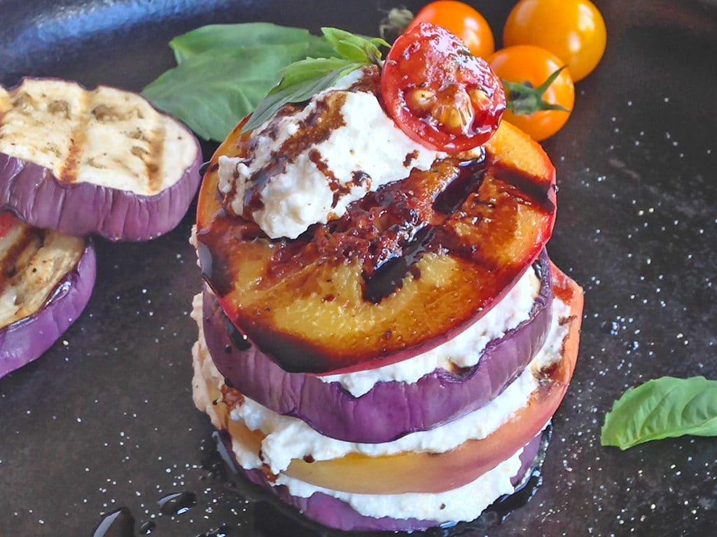 Grilled Eggplant Peach Ricotta Stack