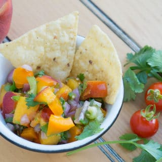 Sweet Summer Polenta with Peach Cilantro Salsa