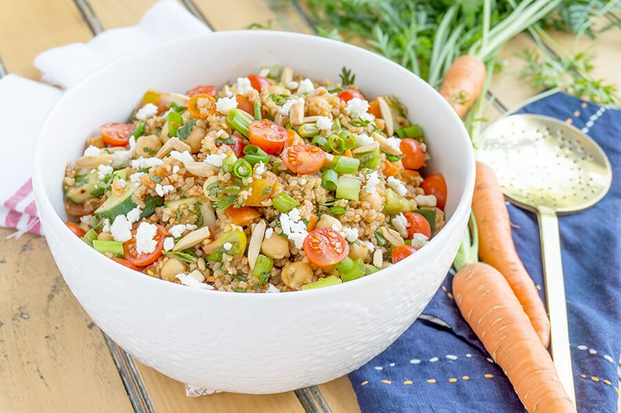 Turkish Bulgur Wheat Salad with Tomatoes and Cucumbers | Recipe at OatandSesame.com