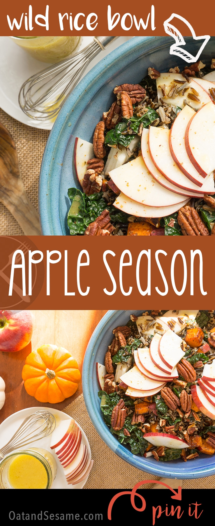 Wild Rice with Apples, Kale and Cider Vinaigrette | Recipe at OatandSesame.com