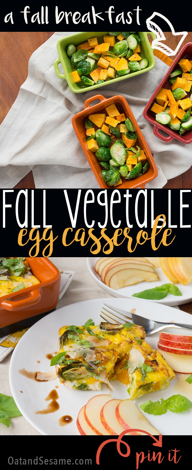 a fall inspired breakfast casserole - brussels sprouts, butternut squash, shaved parmesan and basil | Recipe at OatandSesame.com