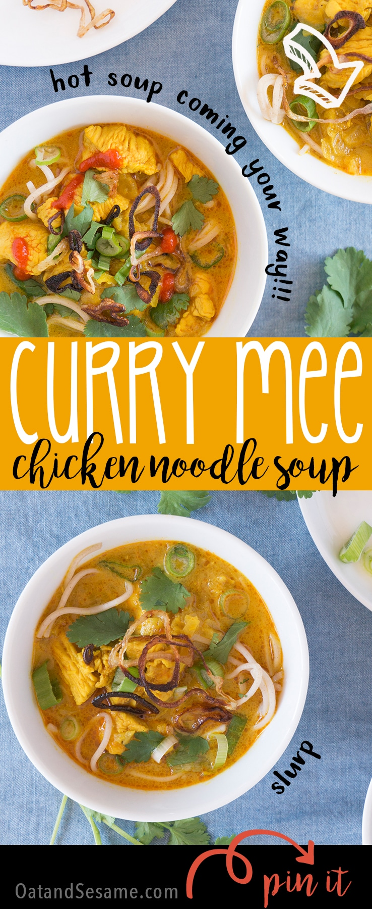 Curry Mee Noodle Soup - rich coconut broth with warm spices create a chicken noodle soup that's got amazing flavor! | ASIAN | CHICKEN | SOUP | Recipe at OatandSesame.com