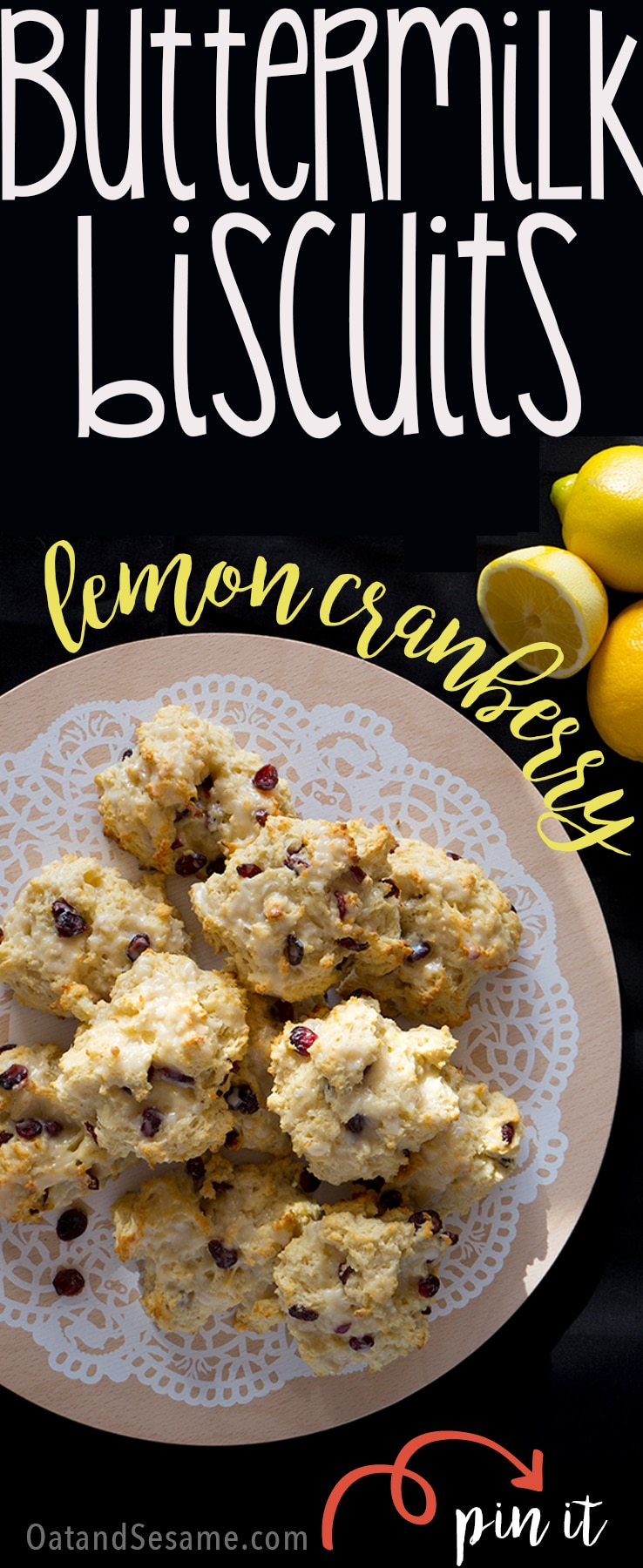 Lemon Cranberry Biscuits - lemony, light and tender, these are my favorite to serve for a brunch crowd! | Recipe at OatandSesame.com