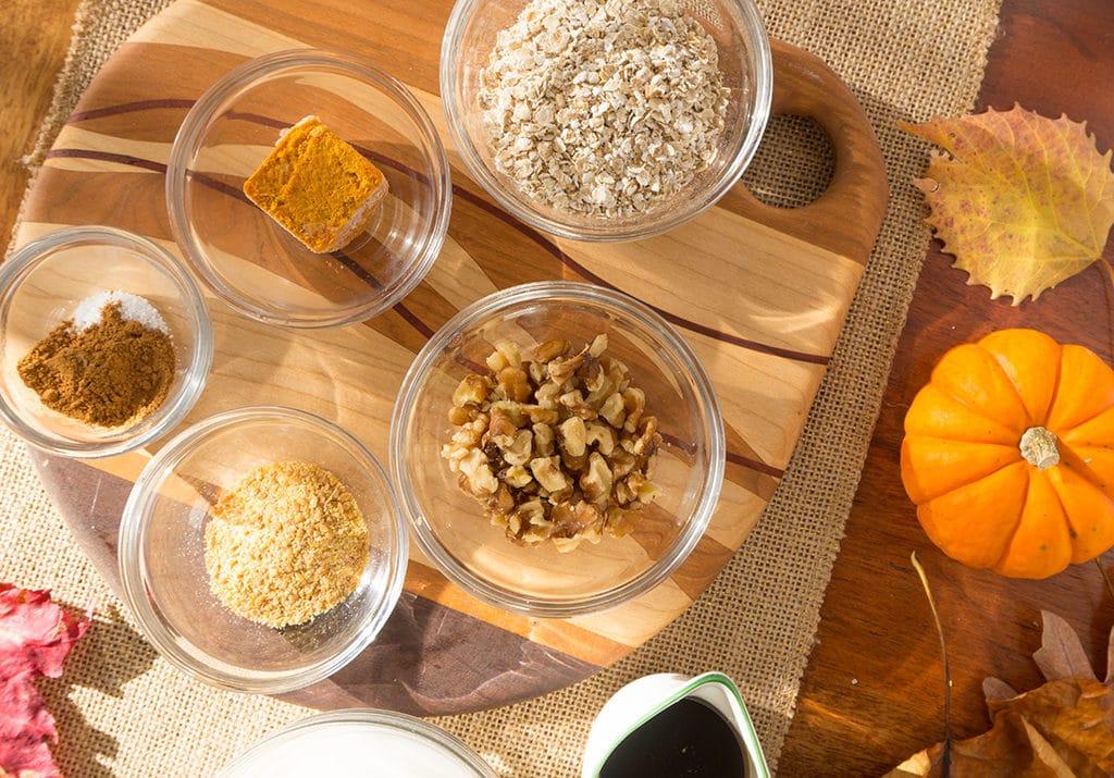 maple pumpkin oatmeal with walnuts