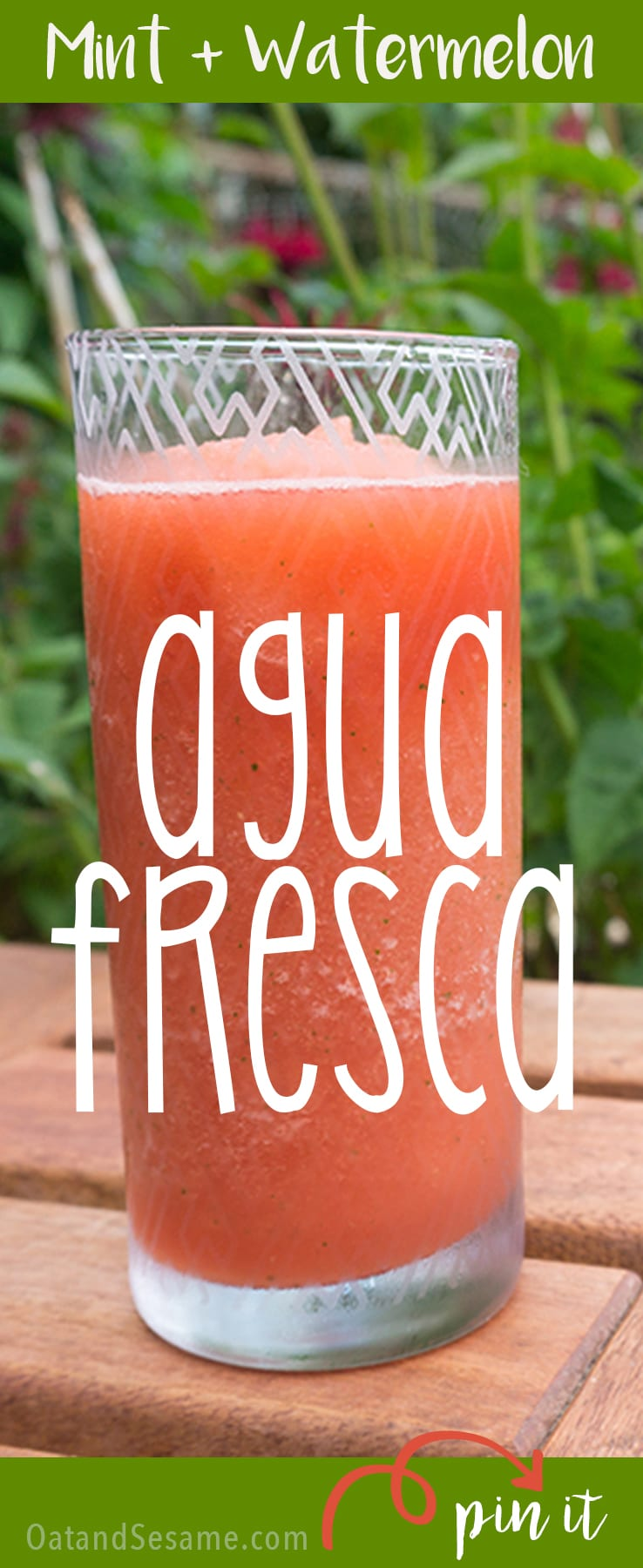 Mint Watermelon Agua Fresca! The BEST Summer Slushie! So refreshing and cold for those hot summer afternoons! | WATERMELON | DRINKS | SUMMER | SLUSHIE | AGUA FRESCA | Recipe at OatandSesame.com