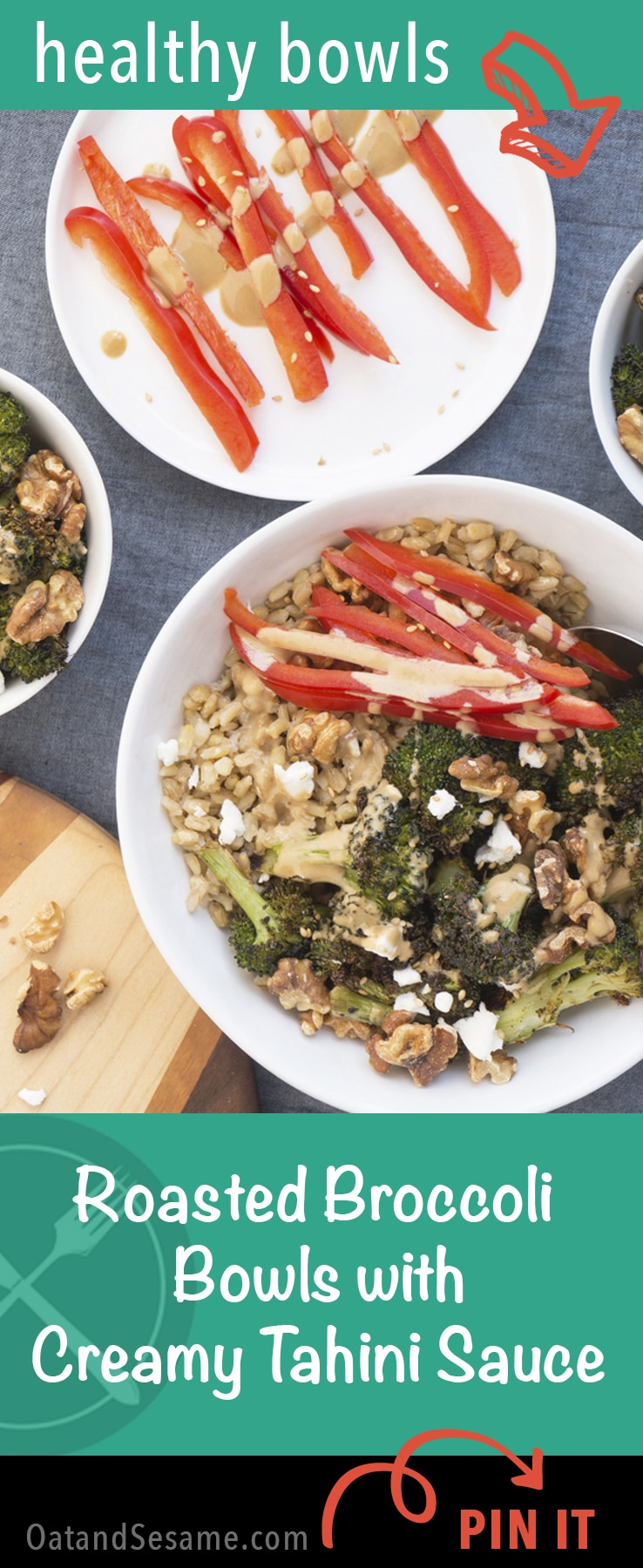 Roasted Broccoli Barley Bowls + Creamy Tahini Dressing - mix and match with your own vegetable combos! | VEGETARIAN | HEALTHY | TAHINI DRESSING | BROCCOLI | Recipe at OatandSesame.com