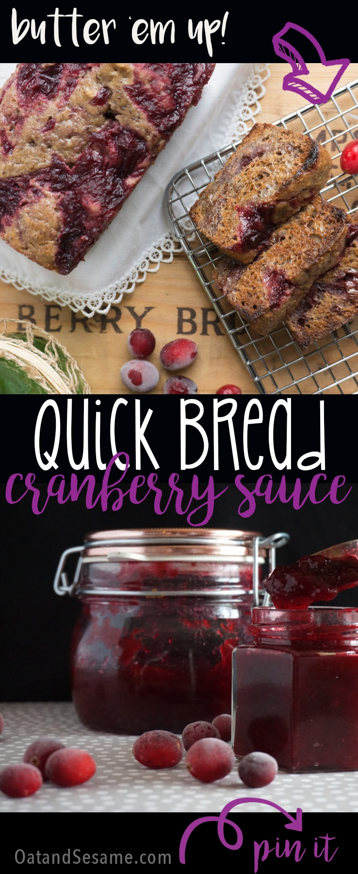 Need a way to use up all that CRANBERRY SAUCE?  Make QUICK BREAD! | recipe at OatandSesame.com