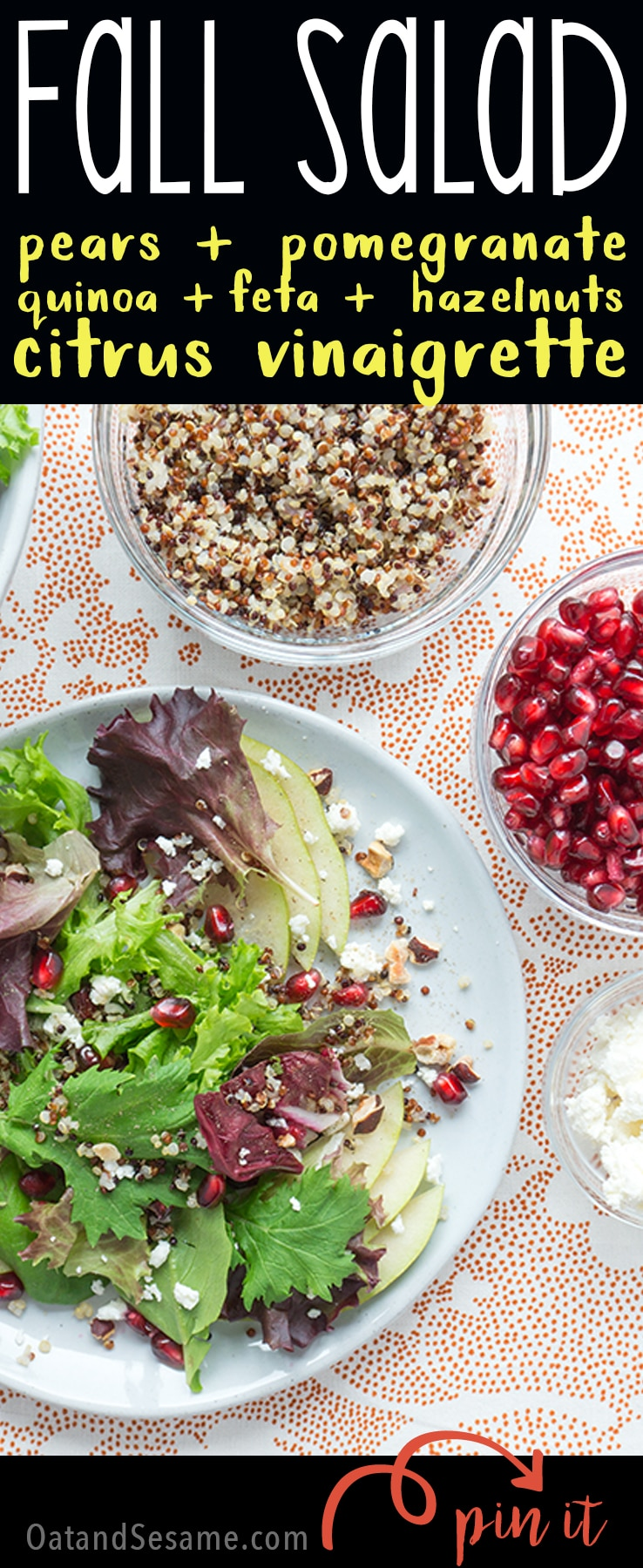 Fall Salad with pear, pomegranate & orange vinaigrette!| SALAD | VEGETARIAN | HEALTHY | FALL | THANKSGIVING | Recipe at OatandSesame.com