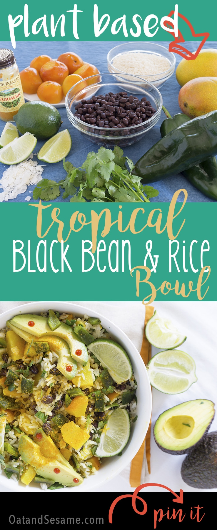 Tropical Black Beans and Rice Bowl has juicy mango, zesty lime, beans, golden beets + rice and gets spiced up with a few dashes of turmeric and sriracha | PLANT BASED | VEGAN | VEGETARIAN | HEALTHY FOOD IN BOWLS | Recipe at OatandSesame.com