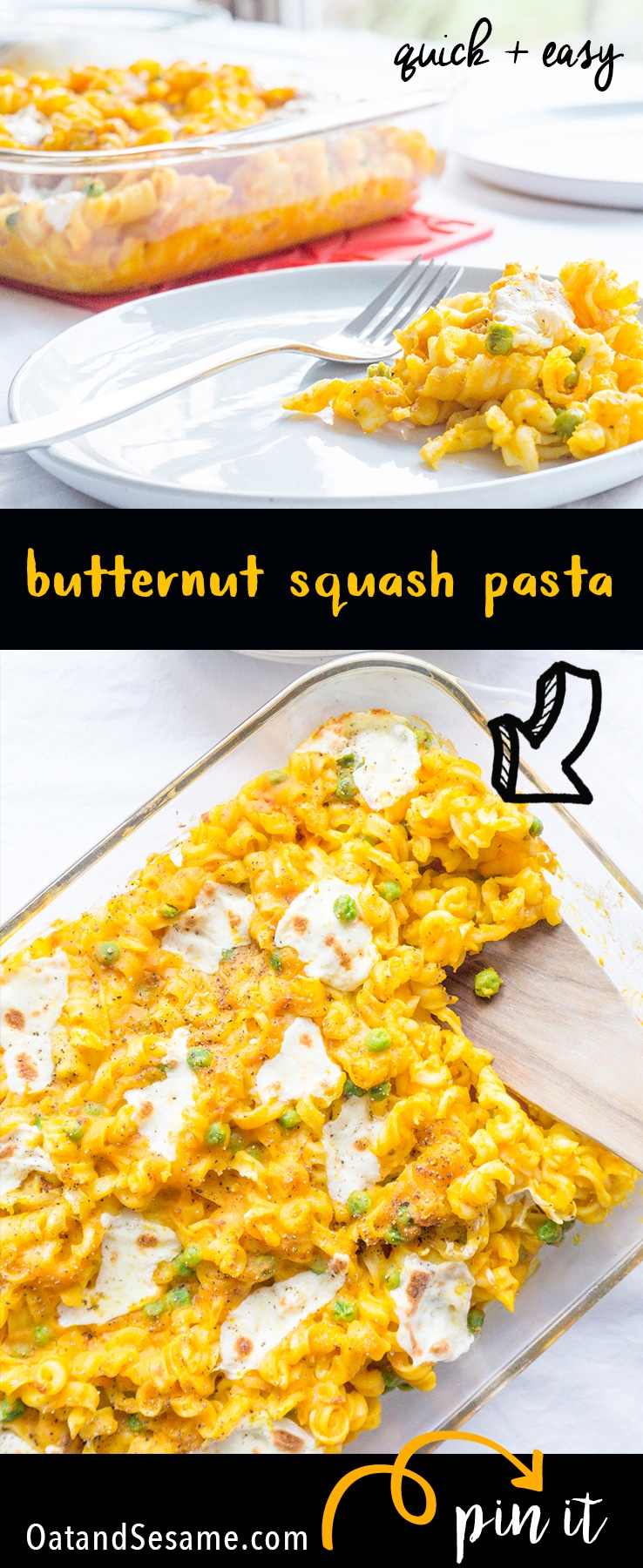 Weeknight Pasta Bake - CREAMY Butternut Squash Sauce with veggies of your choice. Dinner in 30 Minutes! | PASTA | BUTTERNUT SQUASH | VEGETARIAN | Recipe at OatandSesame.com