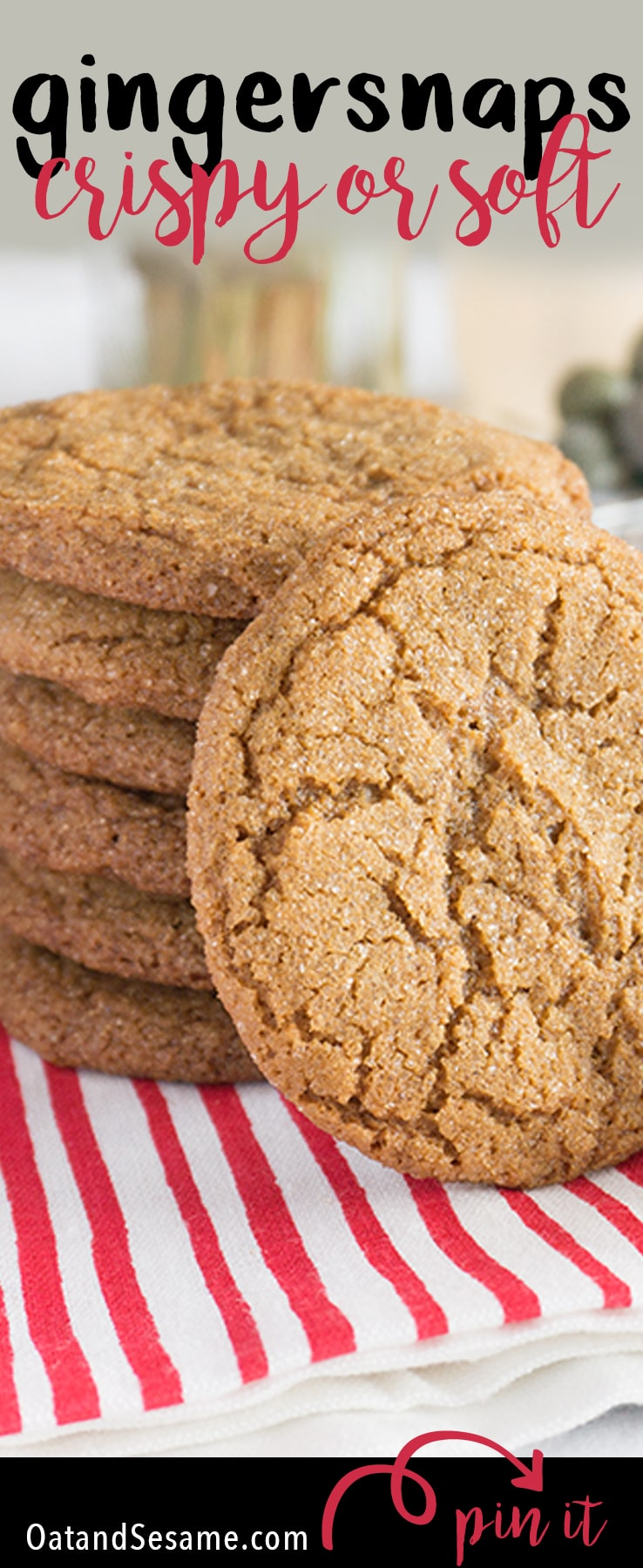 Holiday Gingersnaps - crisp and crunchy or soft and chewy - full of spice and everything nice! | Recipe at OatandSesame.com