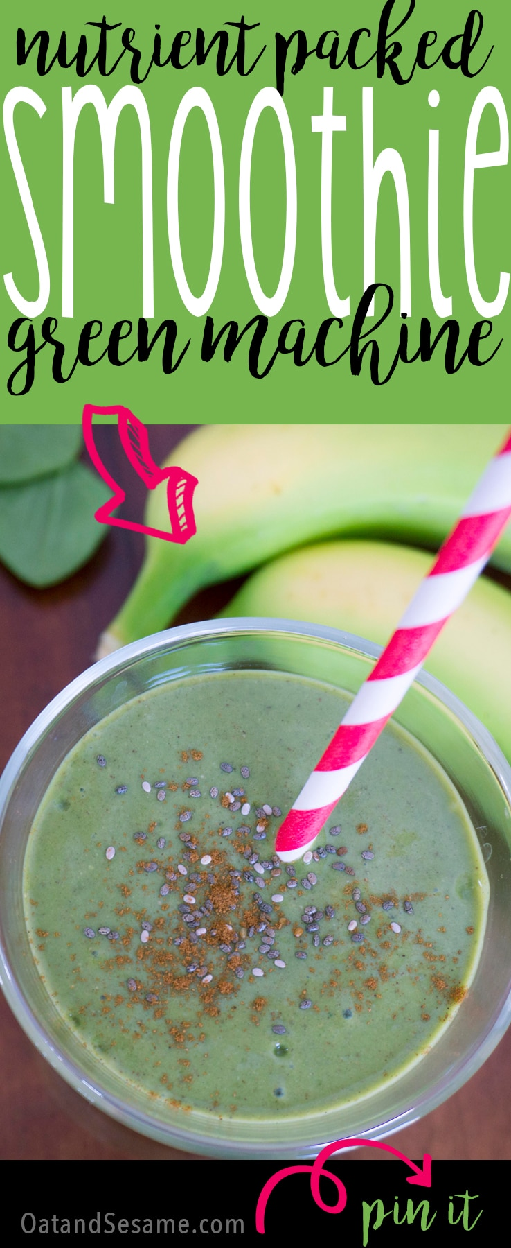Green Machine Spinach Smoothie - the perfect blend of peanut butter and spinach make this healthy, nutrient packed smoothie! | SMOOTHIES | VEGETARIAN | VEGAN | HEALTHY | Recipe at OatandSesame.com