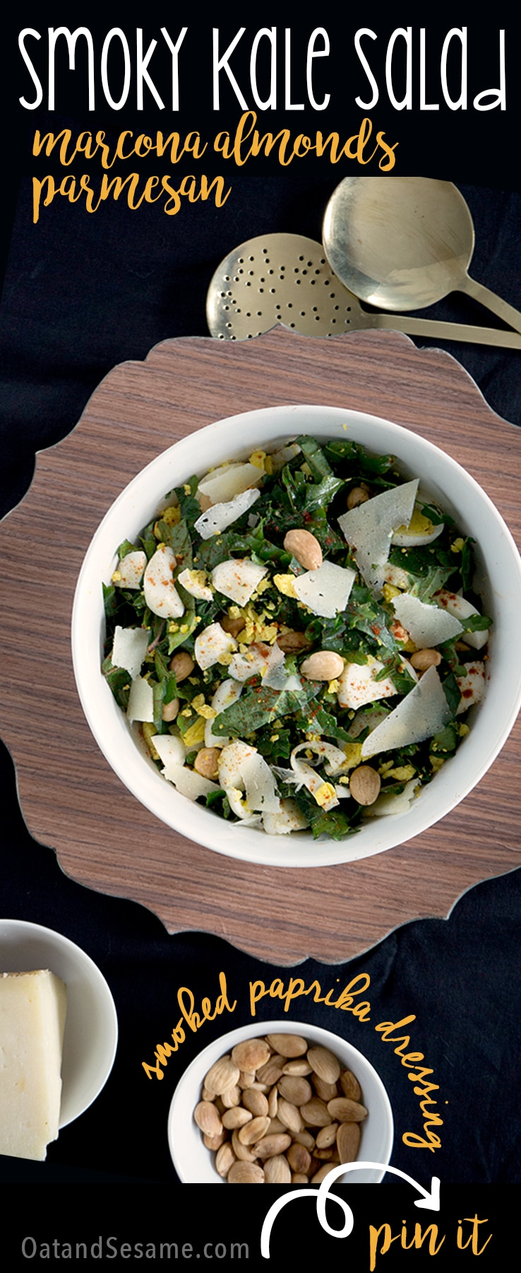 Kale Salad with Manchego and Salty Marcona Almonds tossed with a Smoky Vinaigrette | KALE | HEALTHY | SALAD | Recipe at OatandSesame.com