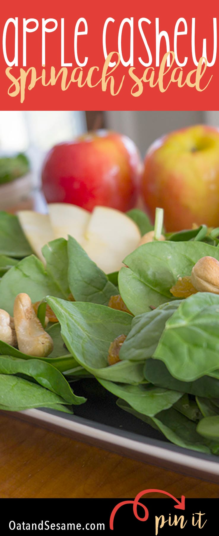 Apple Cashew Spinach Salad - Nutty and sweet with a tangy dressing | #Apple | #Salad | #Vegetarian | Recipe at OatandSesame.com