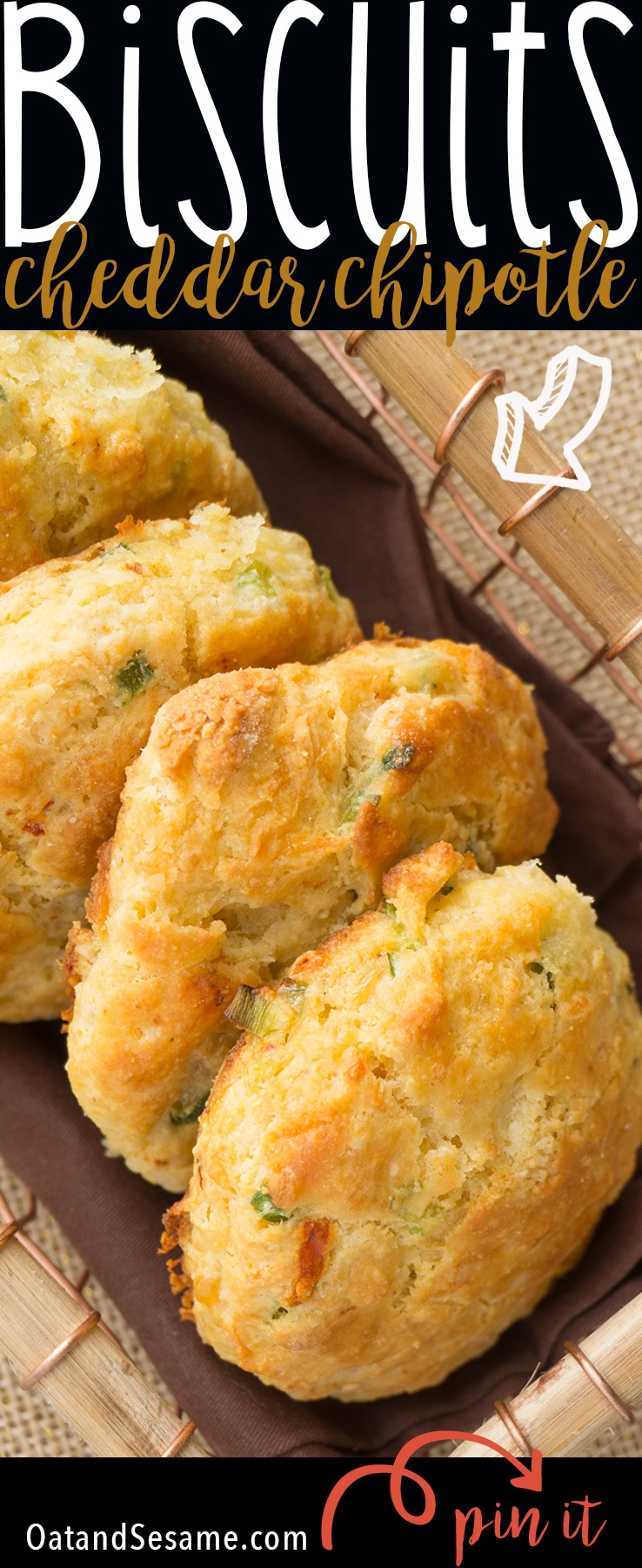 WHITE CHEDDAR CHIPOTLE CORNMEAL BISCUITS. Cheesy Savory Biscuits that are crumbly and tender. So easy and perfect for Breakfast, Lunch and Dinner! | Recipe at OatandSesame.com