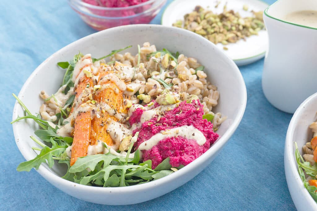 Farro Salad with Spiced Tahini Dressing