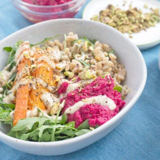 Farro Salad and Spiced Tahini Dressing