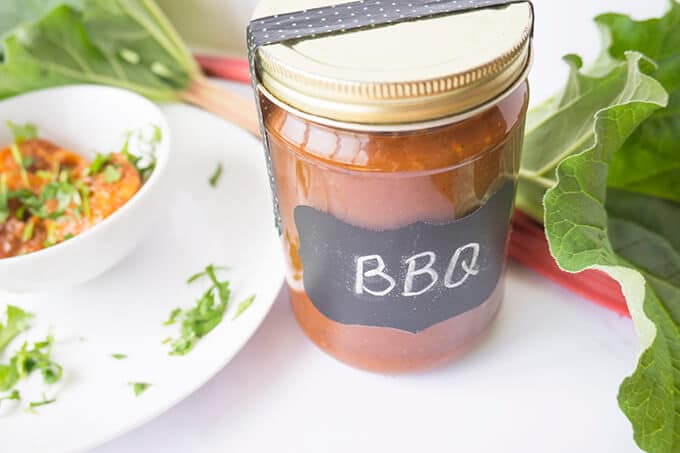 A fresh and tangy BBQ SAUCE featuring RHUBARB!!| SUMMER | RHUBARB | BBQ | SAUCE | Recipe at OatandSesame.com