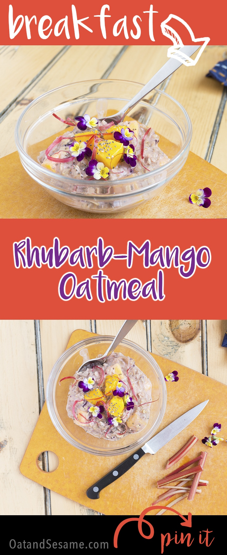 This RHUBARB-MANGO Oatmeal is the perfect blend of sweet and tart. I always thought strawberry rhubarb was the best, but mango is equally as delicious! | RHUBARB | BREAKFAST | OATMEAL | HEALTHY | VEGAN | VEGETARIAN | Recipe at OatandSesame.com