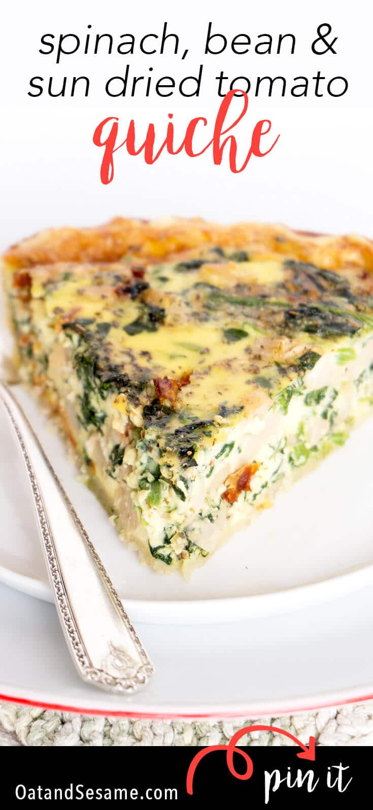 Need a BREAKFAST QUICHE? This favorite breakfast/brunch quiche is stuffed with spinach, beans, sun dried tomatoes and fontina cheese! | Recipe at OatandSesame.com