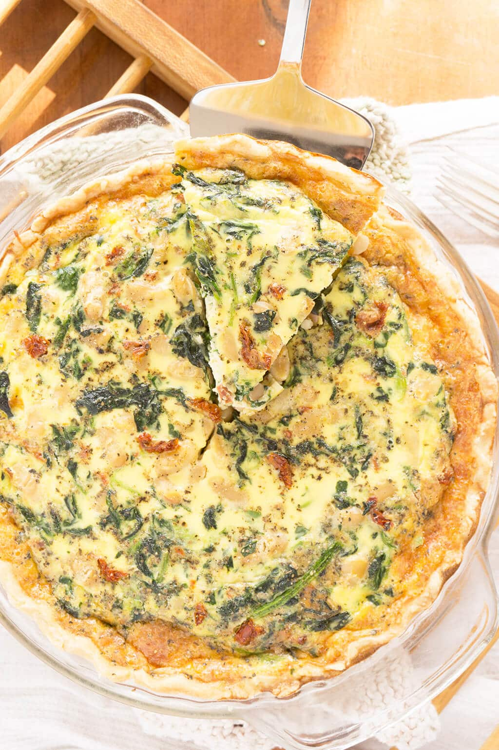 Spinach, White Bean & Sun Dried Tomato Quiche