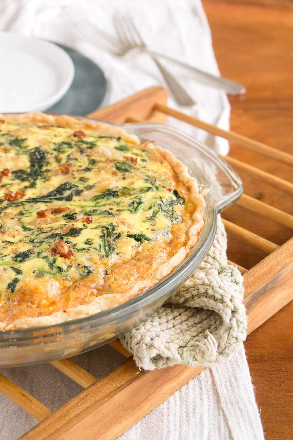 Spinach, Bean and Sun Dried Tomato Quiche