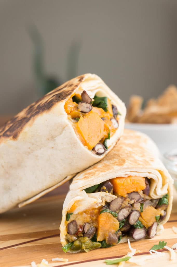Spinach, Sweet Potato & Black Bean Burritos