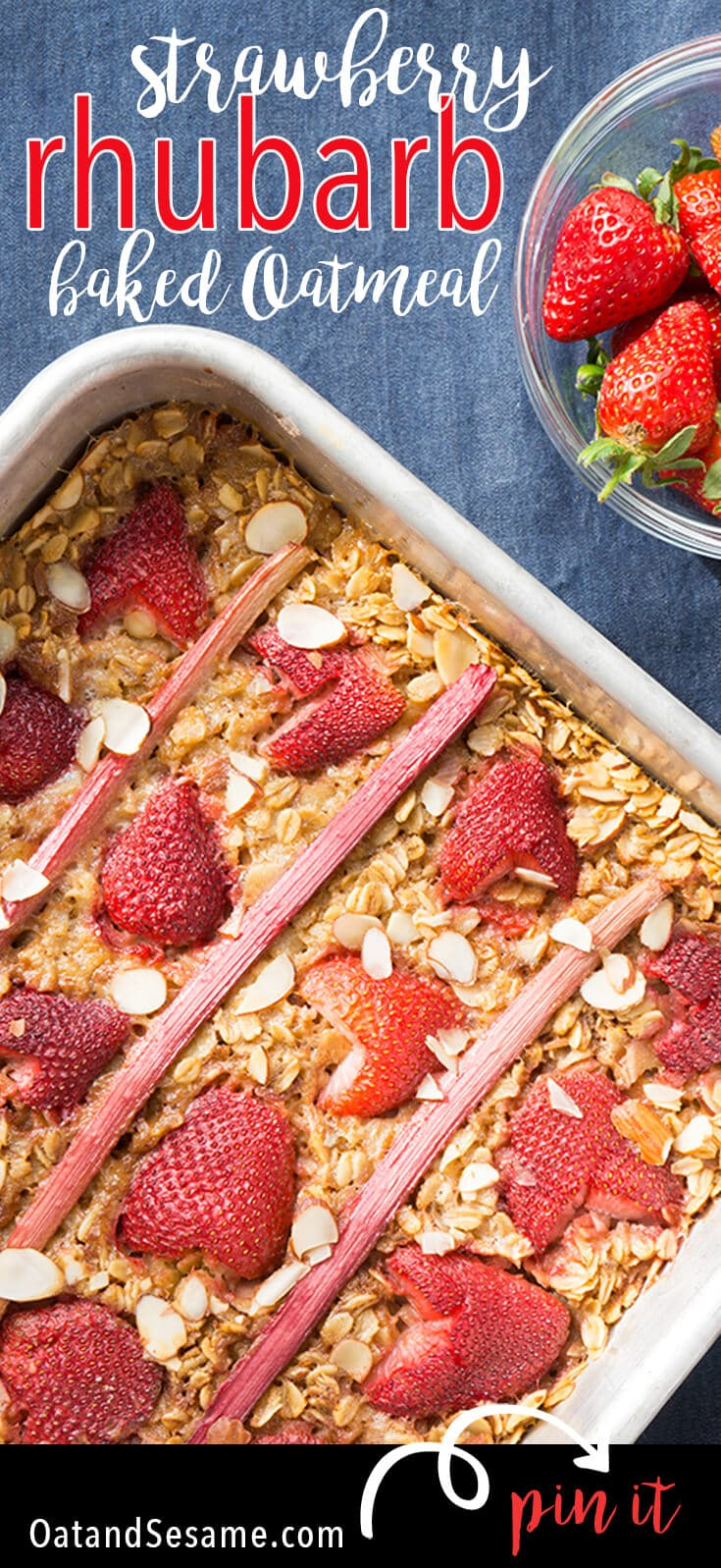 Strawberry Rhubarb Baked Oatmeal is a must make for rhubarb season! Sweet + Tangy, make it ahead of time and have breakfast for the week! BREAKFAST | RHUBARB | STRAWBERRY | Recipe at OatandSesame.com