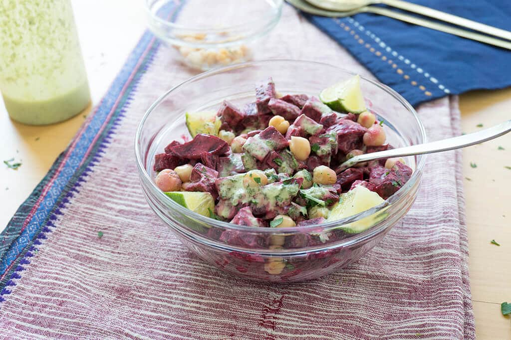 Beet & Chickpea Salad with Coconut Lime Dressing | recipe at OatandSesame.com