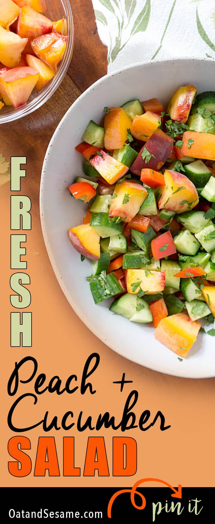 This easy Peach + Cucumber Salad incorporates all the wonderful produce from your local farmer's market! Fresh cucumbers, red peppers, peaches and fresh herbs! Summer flavors that speak for themselves without any fuss. | GLUTEN FREE | VEGETARIAN | VEGAN | PLANT BASED | PEACHES | SALAD | HEALTHY | Recipe at OatandSesame.com