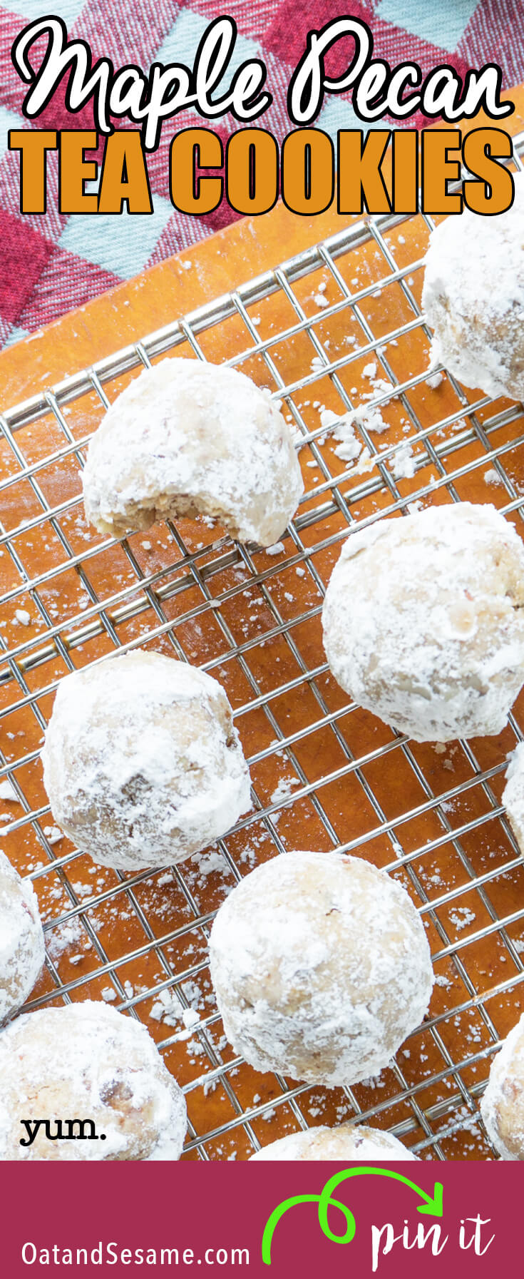Maple Pecan Tea Cookies are infused with maple extract and loads of chopped pecans. Crescent shaped or in ball form, these cookies have just a touch of sweetnesswith a light + buttery texture just like a traditional tea cookie should be!   #COOKIES   #BAKING   #PECAN   #HOLIDAY   #Recipe at OatandSesame.com