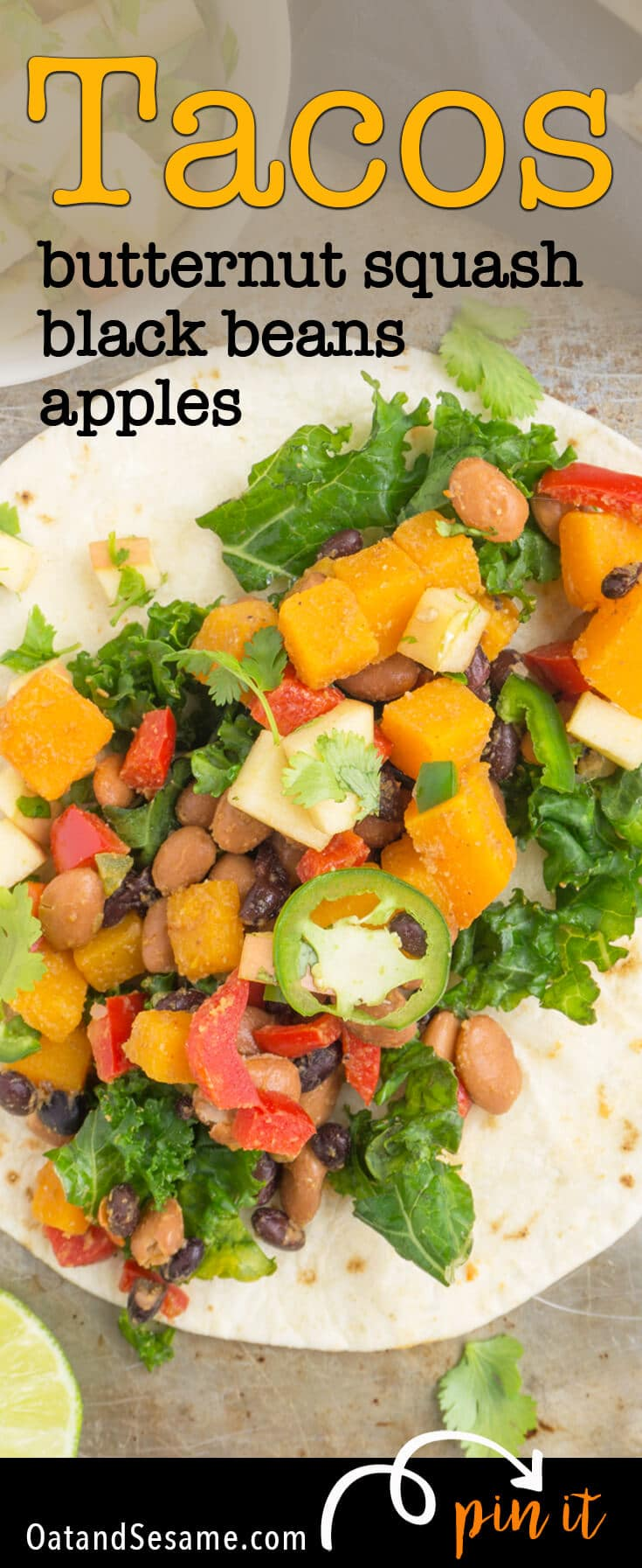 These Vegetarian Tacos with Black Beans are loaded with seasoned vegetables, topped with apples and finished with a smoky maple dressing for a seasonal twist. #TacoTuesday should always be this healthy and delicious! | TACOS | VEGETARIAN | VEGAN | PLANT BASED | Recipe at OatandSesame.com
