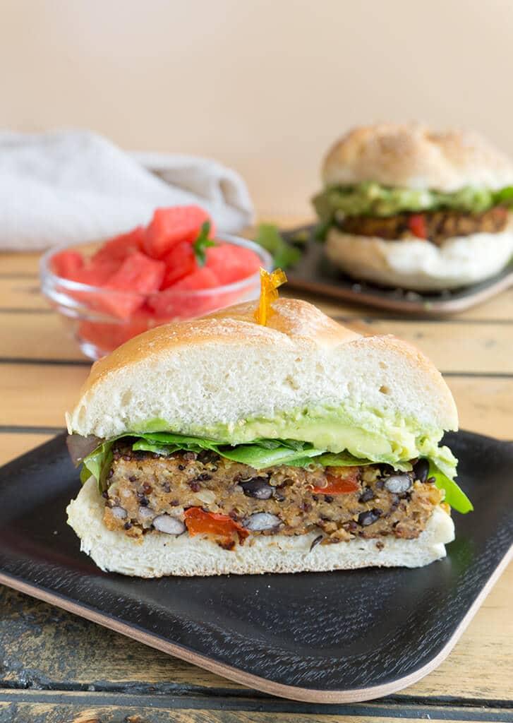 Southwest Black Bean Burger on a plate, vertical