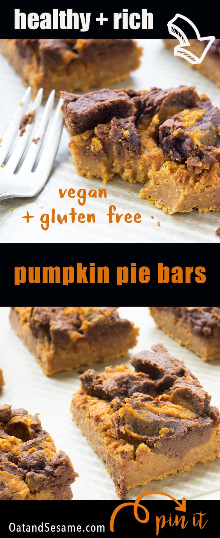 These Vegan Pumpkin Pie Bars have a chocolate peanut butter swirl topping. The inside is creamy like pumpkin pie and there isn't a lick of oil, dairy, flour or refined sugar. Just healthy ingredients like pumpkin, white beans, oats and peanut butter. #VEGAN | #PUMPKIN | #VIRTUALPUMPKINPARTY | #HEALTHY | #DESSERT | #GLUTENFREE | #Recipe at OatandSesame.com